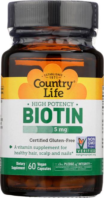 Biotin High Potency Certified Gluten-Free 60 Vegan Capsules