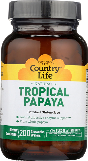 Chewable Supplement Tropical Papaya Natural 200 Chewable Wafers