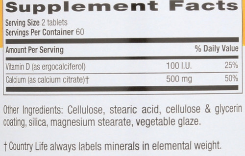 Calcium Citrate With Vitamin D 120 Tablets