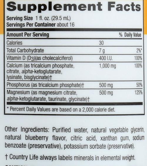 Calcium Magnesium Blueberry Liquid 16 Fl Oz.