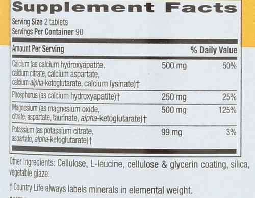 Calcium Magnesium Potassium 500Mg : 500Mg : 99 Mg Target-Mins® 180 Tablets
