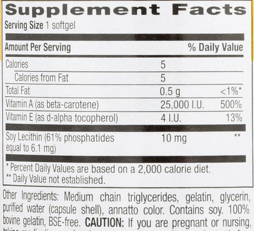 Beta Carotene 25,000 Iu Vitamin A Activity 100 Softgels