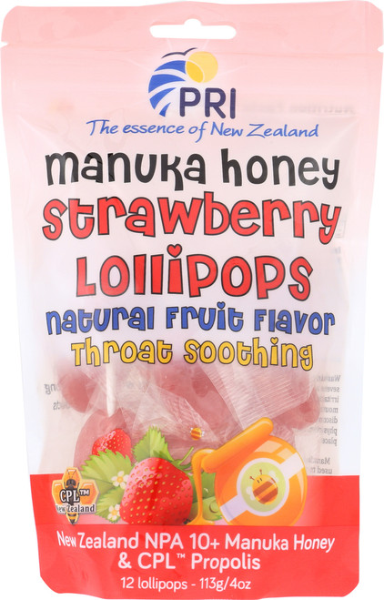 Childrens Propolis & Manuka Honey Lollipops Strawberry & Honey