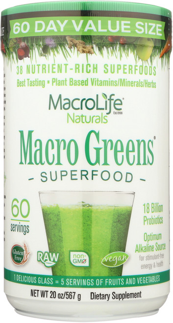 Macro Greens Superfood Powder 60-Srv Container