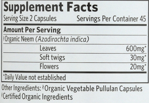 Whole Herb Supplement Neem 90 Count