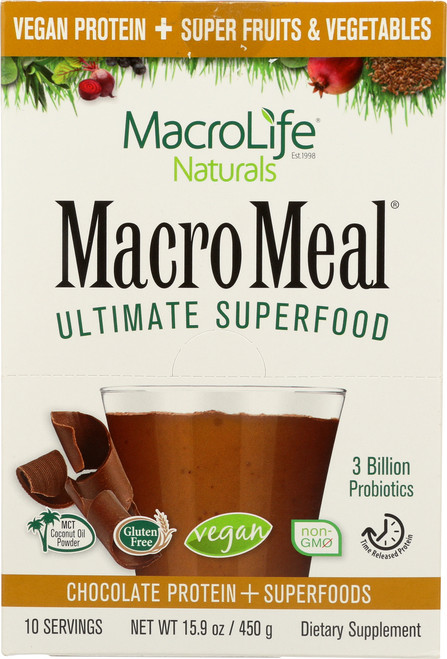 "Macromeal® ""Vegan"" Chocolate 10 Single Srv Packet Box"