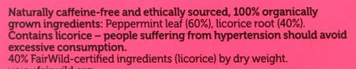 Organic Herbal Tea Peppermint & Licorice 20 Sachets 30 G