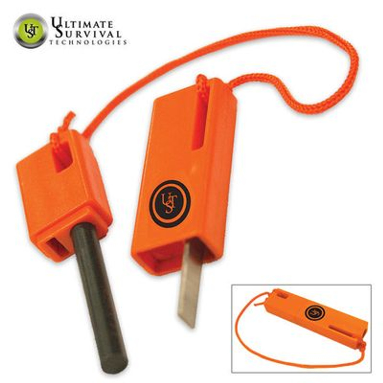 Ultimate Survival Technologies SparkForce Fire Starter Orange Mini Flint Striker