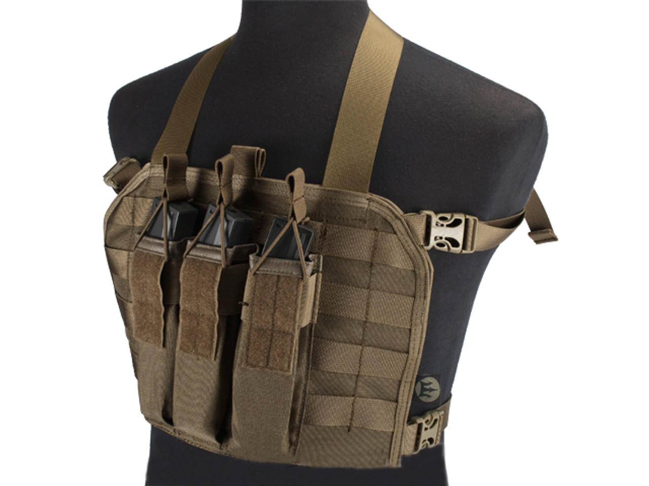 Molle Chest Rig Lightweight High Speed Vest QD Modular Sling Tool Brown
