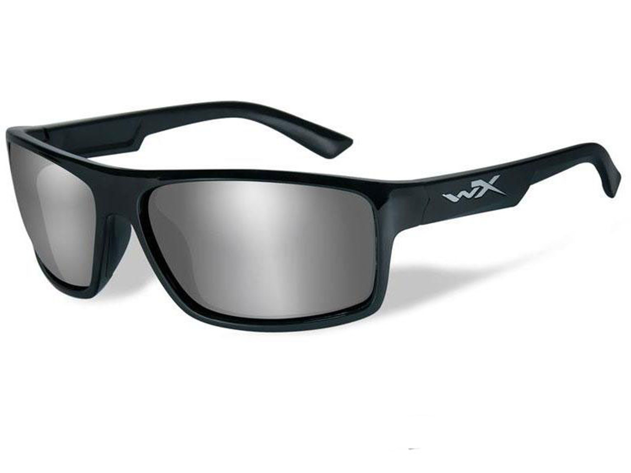 02aec78870339 Wiley X Peak Polarized Sunglasses (Color  Silver Flash lens with Gloss Black  Frame)