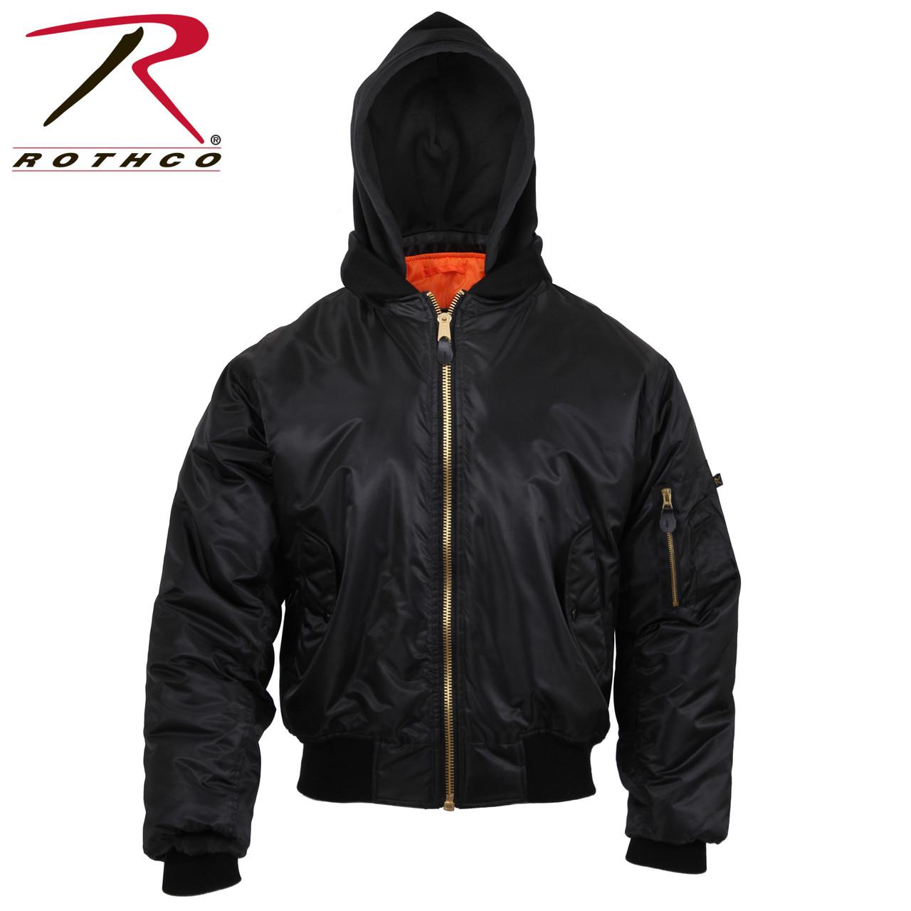 9099a43016b45 Rothco Hooded MA-1 Flight Jacket - Black - Hero Outdoors