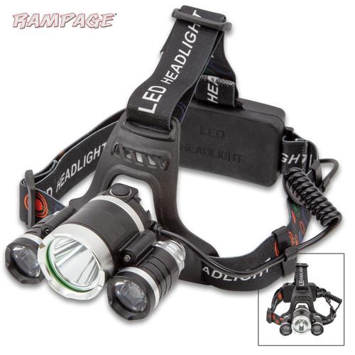 Rampage Three-Mode LED Water-Resistant Headlamp