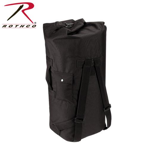 G.I. Type Enhanced Double Strap Duffle Bag - Black