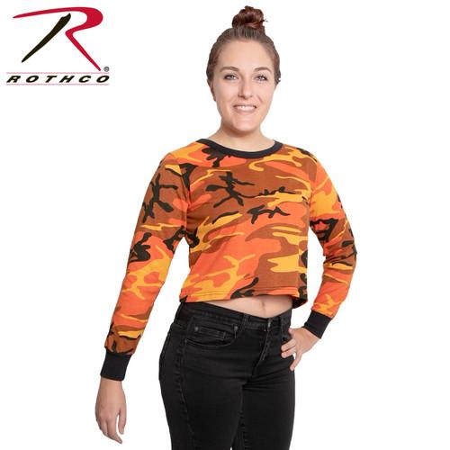 Rothco Women's Camo Long Sleeve Crop Top - Savage Orange