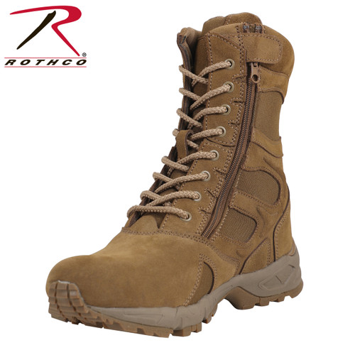 "Rothco Forced Entry 8"" Deployment Boots Side Zip - AR670-1 Coyote Brown"