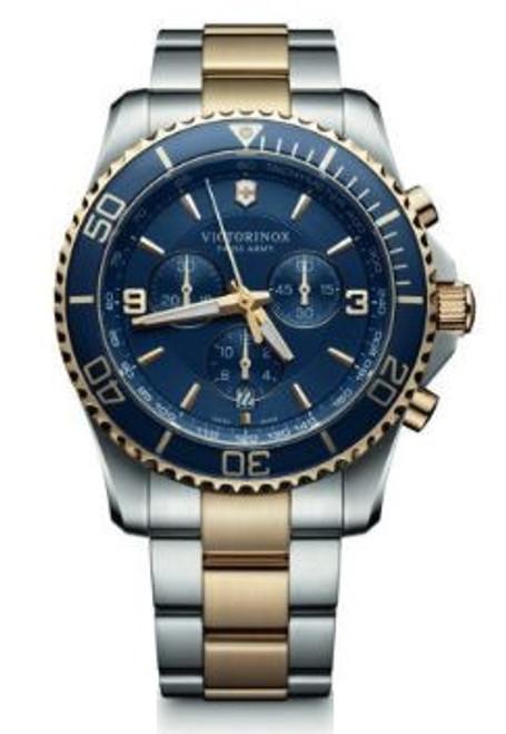 Victorinox Maverick Large Chronograph SS Bracelet 2 Tone - Blue