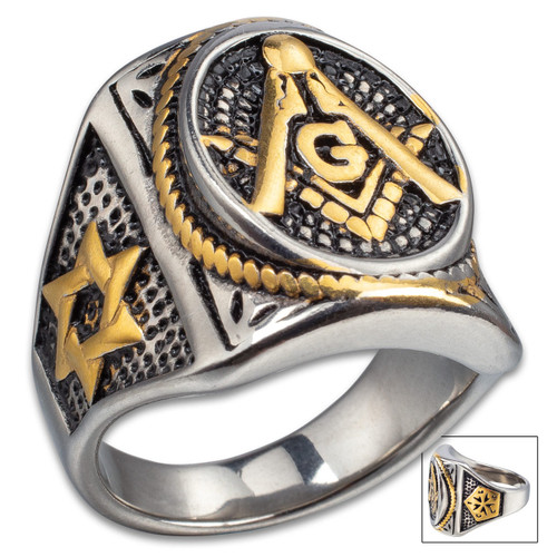 Mason Seal Stainless Steel Ring w/Gold Accents