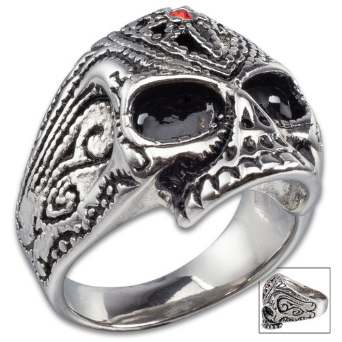 Skull Stainless Steel Ring w/Faux Ruby