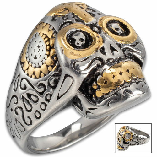 Two-Tone Stainless Steel Grinning Skull And Cross Ring