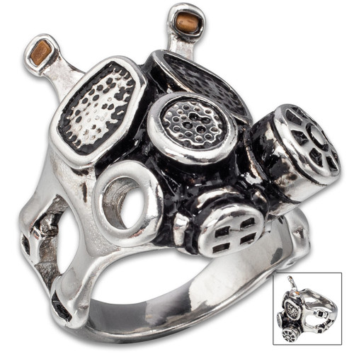 Apocalyptic Stainless Steel Gas Mask Ring