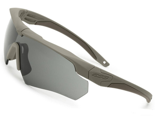 ESS Crossbow Ballistic Eyeshield Package (Color: Terrain Tan Frame / Clear and Smoke Grey Lenses)
