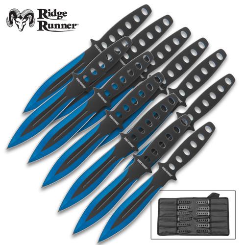 Ridge Runner Arctic Blue Throwing Knife Set w/Sheath