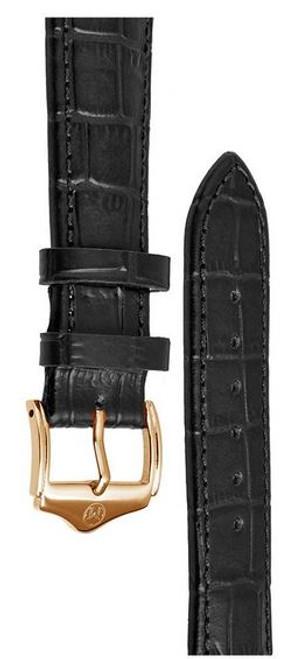 Melbourne Leather Black Croc Grain Watch Strap - 22mm