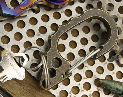 Tuff Writer D22 Ear Brass Carabiner - Aged Finish