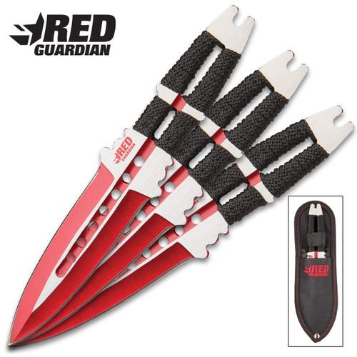 On Target Red Guardian 3-Piece Throwing Knife Set w/Nylon Sheath