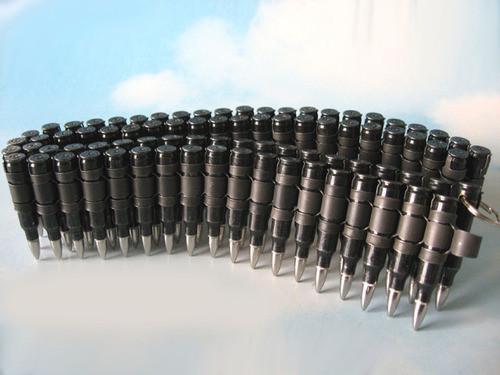 Bullet Belt 5.56 mm - Gunmetal Casings & Black Links w/ Nickel Tips