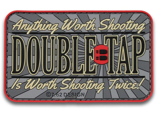 "7.62 Designs PVC ""Double Tap"" Hook and Loop Morale Patch (Color: Full Color)"