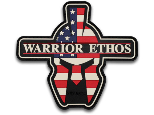 "7.62 Designs PVC ""Warrior Ethos"" Hook and Loop Morale Patch (Color: Red White and Blue)"