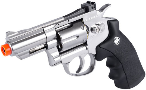 """WG CO2 Full Metal High Power Airsoft 6mm Magnum Gas Revolver 2.5"""" - Silver"""