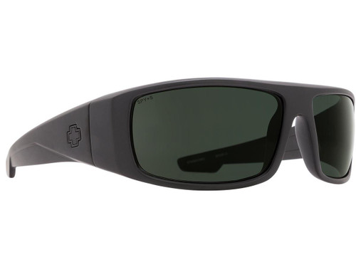 Spy Optic Logan Sunglasses (Model: Matte Black Frame / ANSI RX / HD Plus Gray Green Lens)