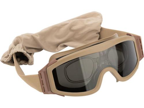 Valken V-TAC Tango Thermal Lens Goggles with Prescription Lens Insert (Color: Tan)