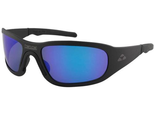 "Liquid Eyewear ""Titan"" CNC Machined One Piece Aluminum Sunglasses (Color: Matte Black w/ Blue Mirror Polarized Lens)"