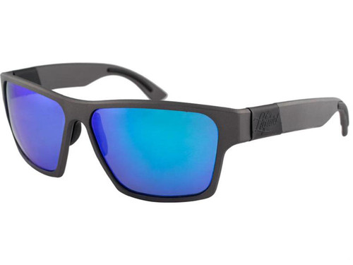 "Liquid Eyewear ""Boxcar"" CNC Machined One Piece Aluminum Sunglasses (Color: Gun Metal w/ Blue Mirror Polarized Lens)"