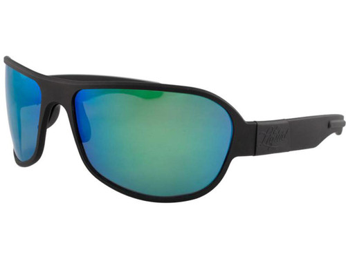 "Liquid Eyewear ""Patriot"" CNC Machined One Piece Aluminum Sunglasses (Color: Black w/ Green Mirror Polarized Lens)"
