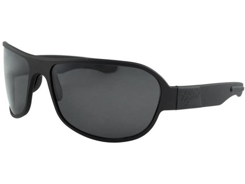 "Liquid Eyewear ""Patriot"" CNC Machined One Piece Aluminum Sunglasses (Color: Black w/ Smoke Polarized Lens)"