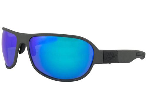 "Liquid Eyewear ""Patriot"" CNC Machined One Piece Aluminum Sunglasses (Color: Gun Metal w/ Blue Mirror Polarized Lens)"