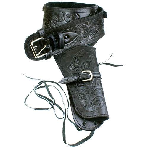 Single Tooled Black Leather Western Holster
