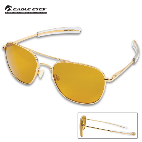 Eagle Eyes Freedom Gold Mirrored Sunglasses w/Hard Case