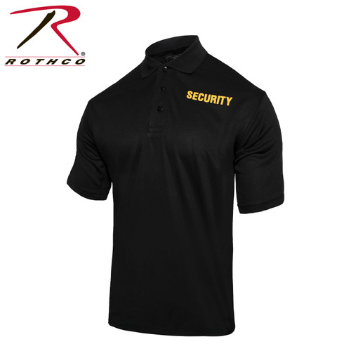 Rothco Moisture Wicking Security Polo Shirt - Black w/Gold Lettering