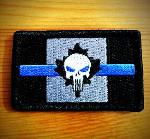 Canada Flag Punisher - Hook and Loop Morale Patch - Blueline