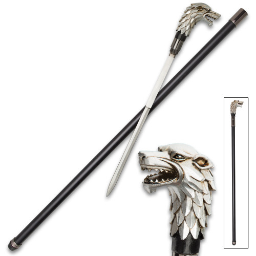 Antique Wolf Head Sword Cane