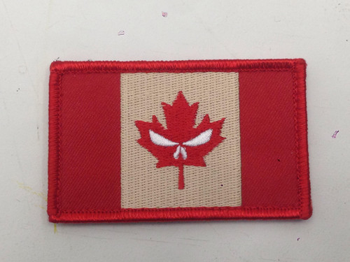 Canadian Flag w/ Punisher Eyes - Hook and Loop Morale Patch - Full Colour