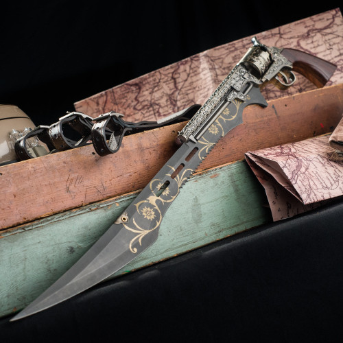 Otherworld Steampunk Gun Blade Sword With Nylon Shoulder Sheath