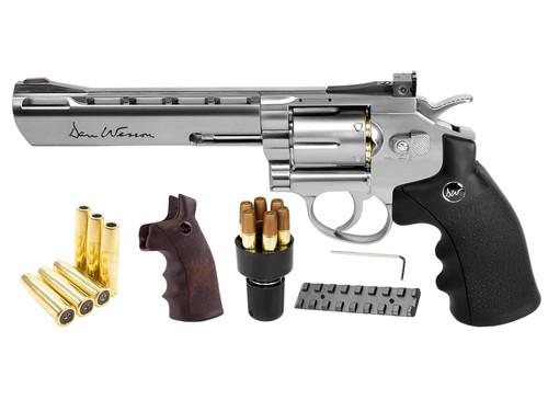 "Dan Wesson 6"" CO2 BB Dual Ammo, Dual Grip Revolver Kit - Silver"