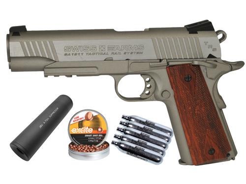 Swiss Arms SA 1911 TRS CO2 BB Pistol w/Faux Suppressor - Kit B