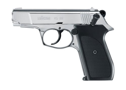 Rohm RG-88 9mm P A K  Blank Pistol -Polished Chrome